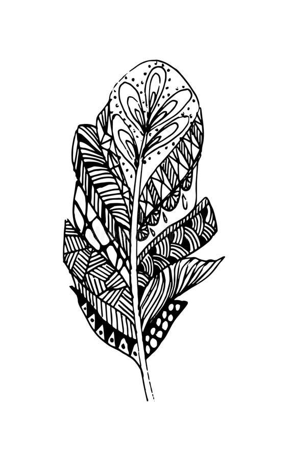 Hand getrokken vectorveren in bohostijl Geïsoleerdj op witte achtergrond stock illustratie