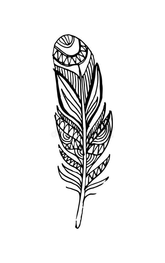 Hand getrokken vectorveren in bohostijl Geïsoleerdj op witte achtergrond royalty-vrije illustratie