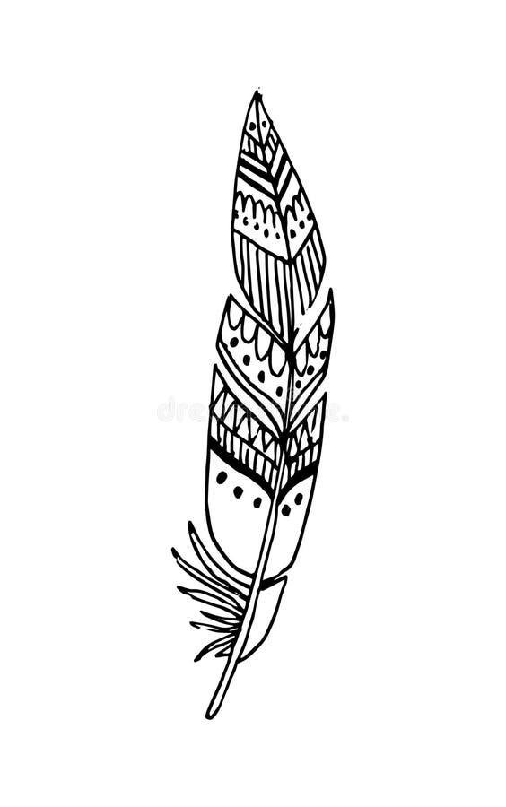 Hand getrokken vectorveren in bohostijl Geïsoleerdj op witte achtergrond vector illustratie