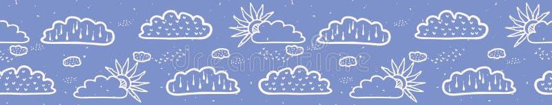 Hand getrokken vectorwolk en zonillustratie Naadloze het herhalen grens stock illustratie