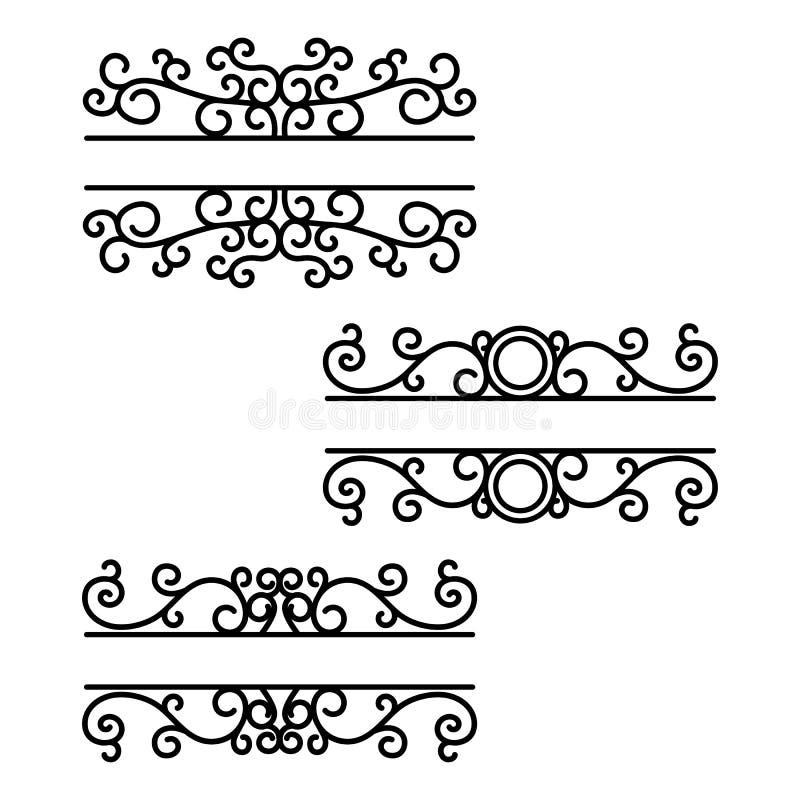 Hand getrokken verdelers Scheidingslijnen Gespleten kaders Tekstverdeler Brievenbusmonogrammen royalty-vrije illustratie