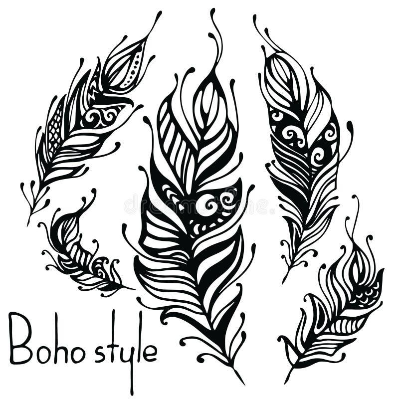 Hand getrokken veren Inkt vectorillustratie Het ontwerpelementen van de Bohostijl etnische creatieve krabbels Geïsoleerd op wit vector illustratie
