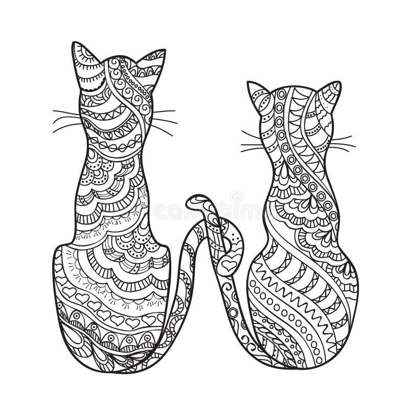 Hand getrokken verfraaide beeldverhaalkatten vector illustratie