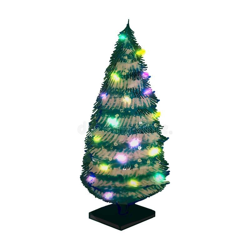 Hand getrokken verfraaide Kerstboom stock illustratie
