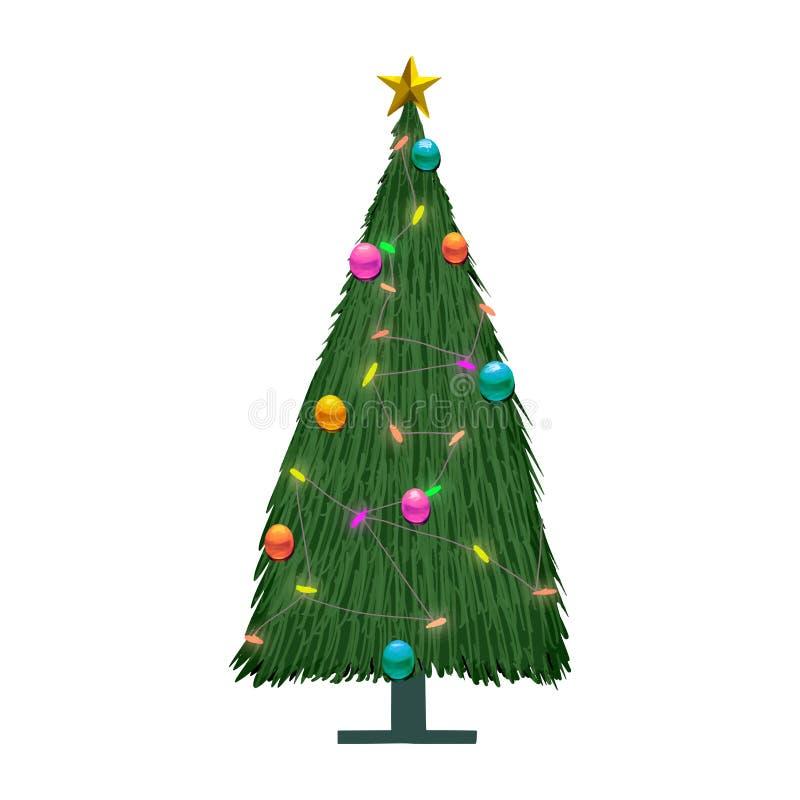 Hand getrokken verfraaide Kerstboom royalty-vrije illustratie