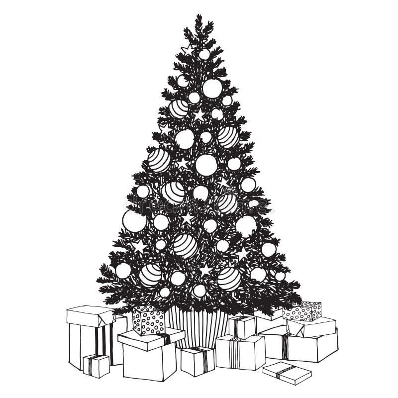Hand getrokken verfraaide Kerstboom met giftdozen Zwart-witte vectorschets om vakantiekaarten, achtergronden te creëren stock illustratie