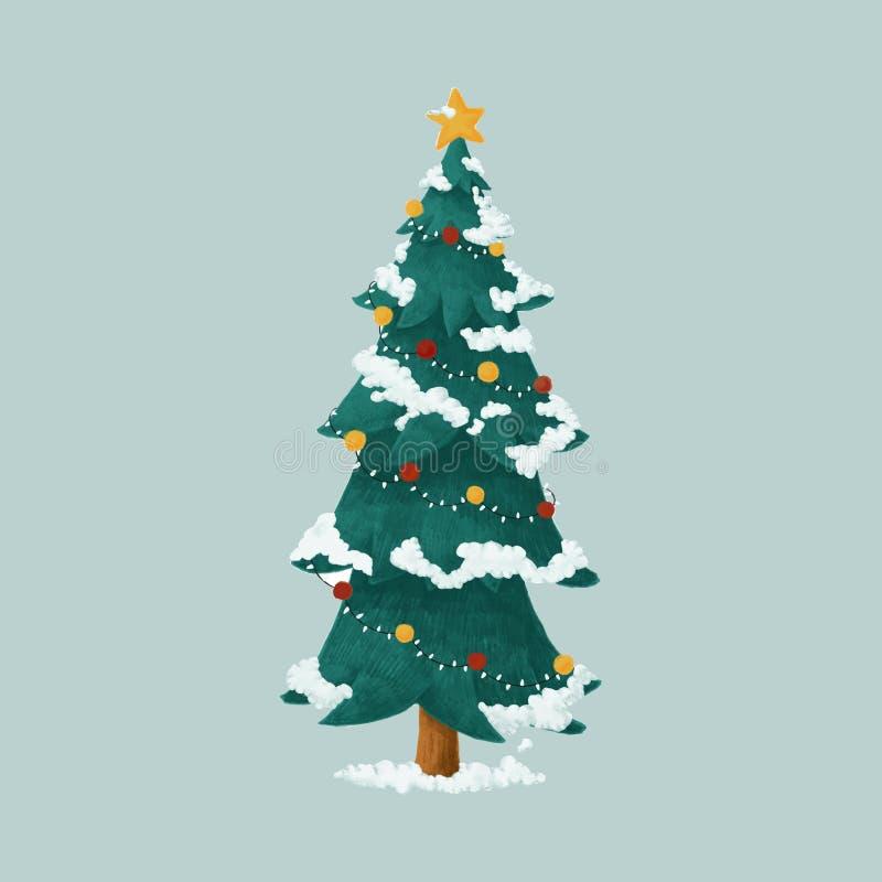 Hand getrokken verfraaide Kerstboomillustratie royalty-vrije illustratie