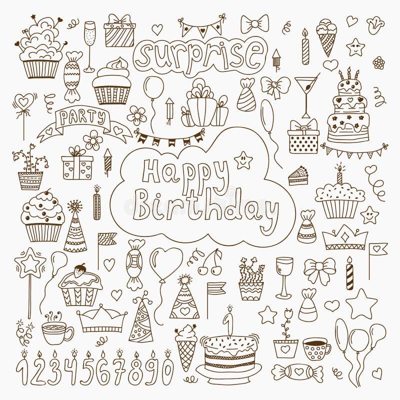 Hand getrokken Verjaardagselementen Reeks van vectorverjaardagspartij eleme royalty-vrije illustratie