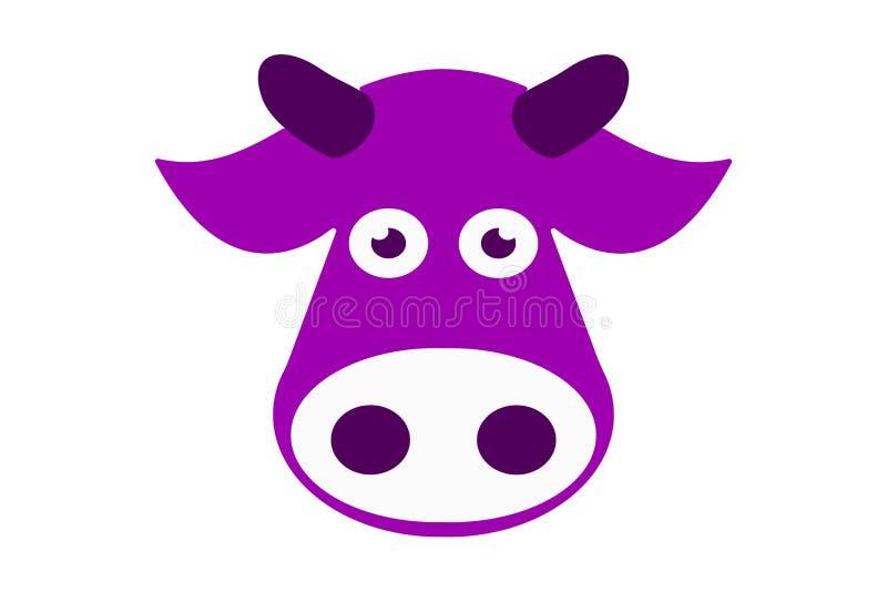 Hand getrokken violet koehoofd Geïsoleerde vector van landbouwbedrijfdier stock illustratie
