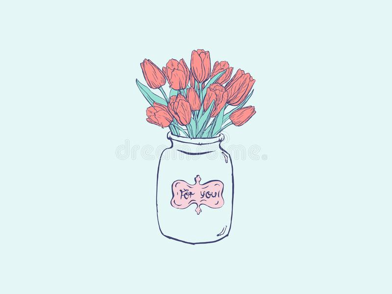 Hand getrokken vlakke illustratie met vaas en tulpen op blauwe achtergrond royalty-vrije illustratie