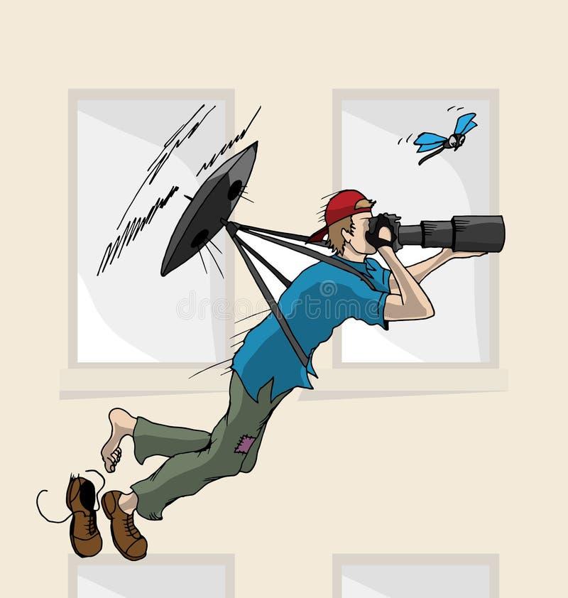 Hand Getrokken Vliegende Hommel met Fotograaf stock foto's
