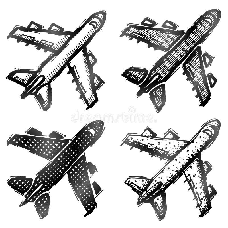 Hand getrokken vliegtuigsymbool, hoogste mening royalty-vrije illustratie