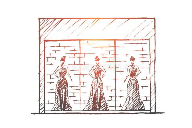 Download Hand Getrokken Vrouwelijke Ledenpoppen In Manierwinkel Vector Illustratie - Illustratie bestaande uit kunstmatig, wandelgalerij: 114225046