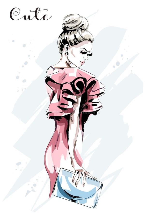 Hand getrokken vrouwenportret Mooie jonge vrouw in manierkleding Modieuze dame met handtas schets vector illustratie