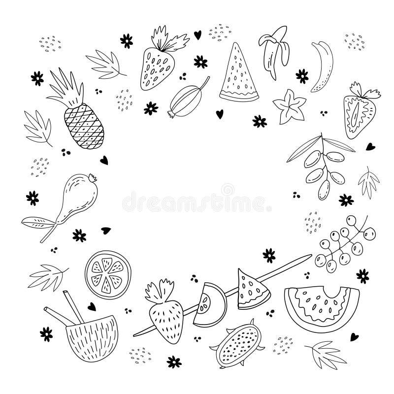 Hand getrokken vruchten en bessenreeks stock illustratie