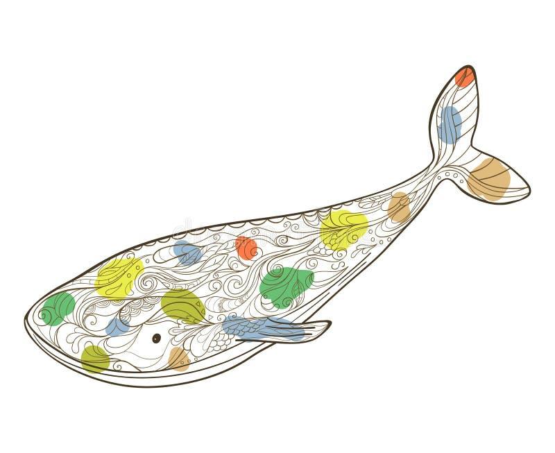 Hand getrokken walvis met bloemenpatroon. stock illustratie