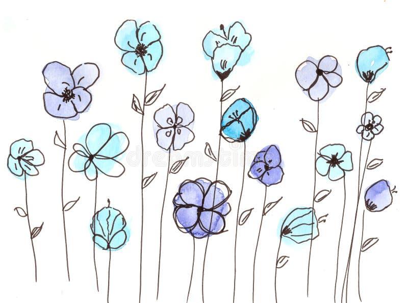 Hand getrokken waterverf blauwe bloemen royalty-vrije illustratie