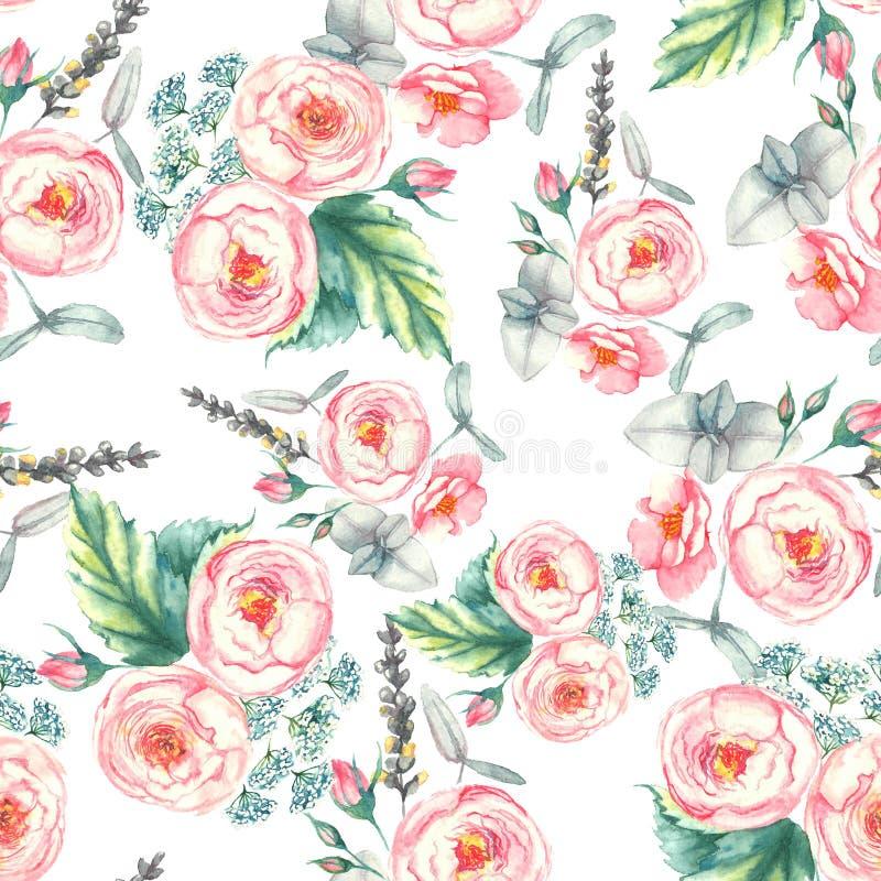 Hand getrokken waterverf bloemen naadloos patroon met tedere roze rozen binnen op de lichtblauwe achtergrond royalty-vrije stock foto's