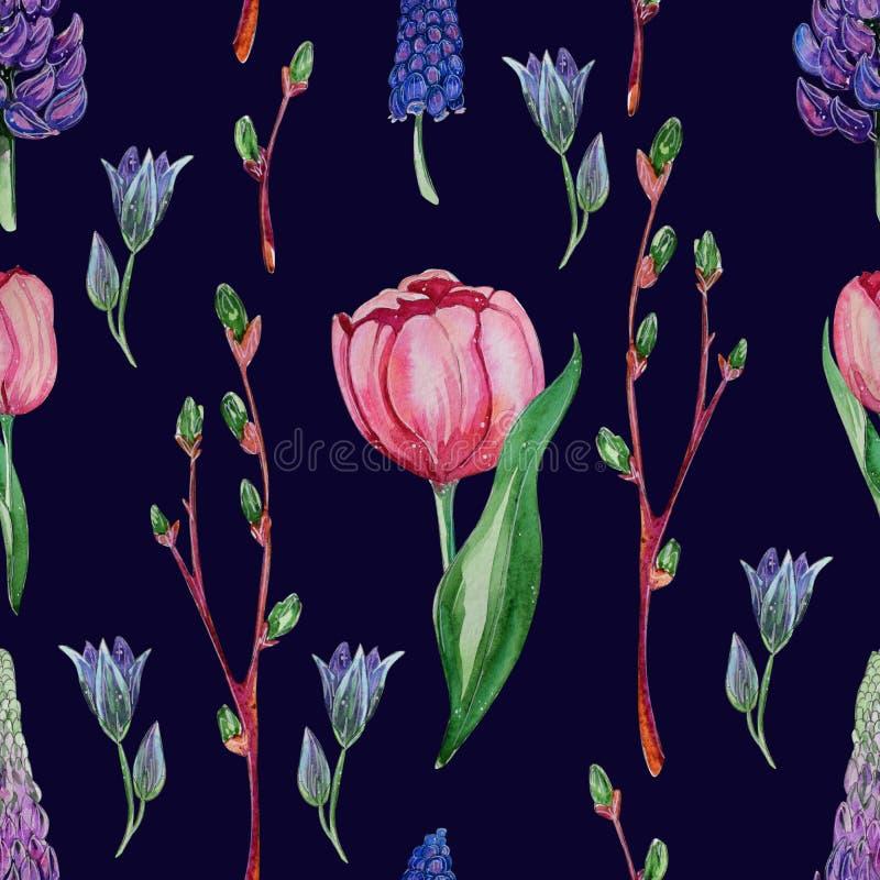 Hand getrokken waterverf bloemen naadloos patroon royalty-vrije illustratie