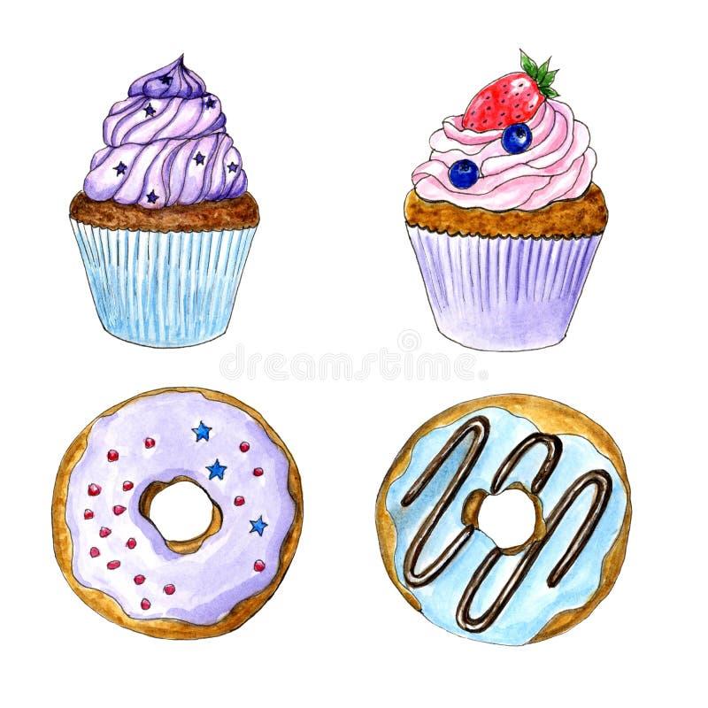 Hand getrokken waterverf cupcake en donuts geïsoleerde reeks vector illustratie