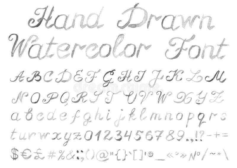 Hand getrokken waterverf Engels alfabet op witte achtergrond stock illustratie