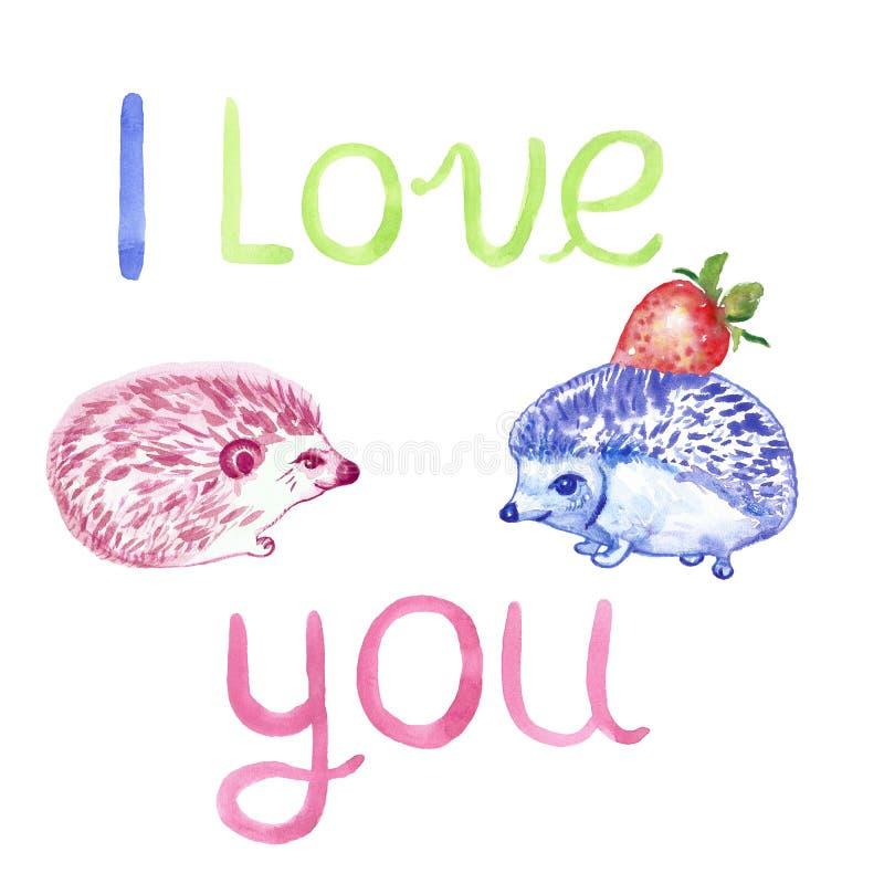 Hand getrokken waterverf leuke die egels met Aardbei en liefdebericht worden geplaatst op witte achtergrond wordt geïsoleerd Bloe stock illustratie