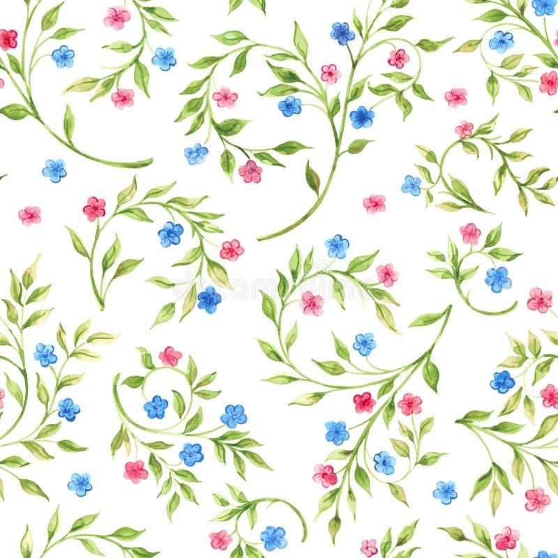 Hand getrokken waterverf naadloos patroon met bloemen stock illustratie