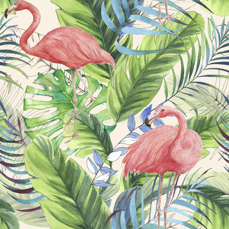 Hand getrokken waterverf naadloos patroon met roze flamingo, banaanbladeren en uitheemse gewassen stock foto