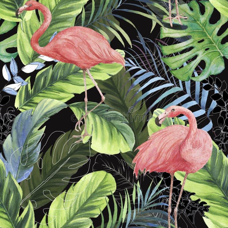 Hand getrokken waterverf naadloos patroon met roze flamingo, banaanbladeren en uitheemse gewassen royalty-vrije stock afbeeldingen