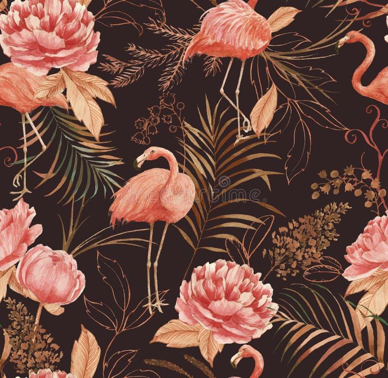 Hand getrokken waterverf naadloos patroon met roze flamingo, pioen en decoratieve installaties stock afbeelding