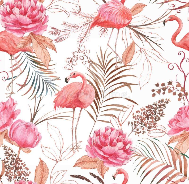 Hand getrokken waterverf naadloos patroon met roze flamingo, pioen en decoratieve installaties royalty-vrije stock foto