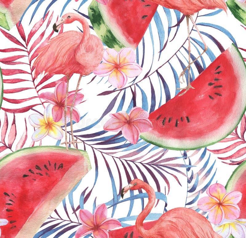 Hand getrokken waterverf naadloos patroon met roze flamingo, watermeloen en uitheemse gewassen royalty-vrije stock foto