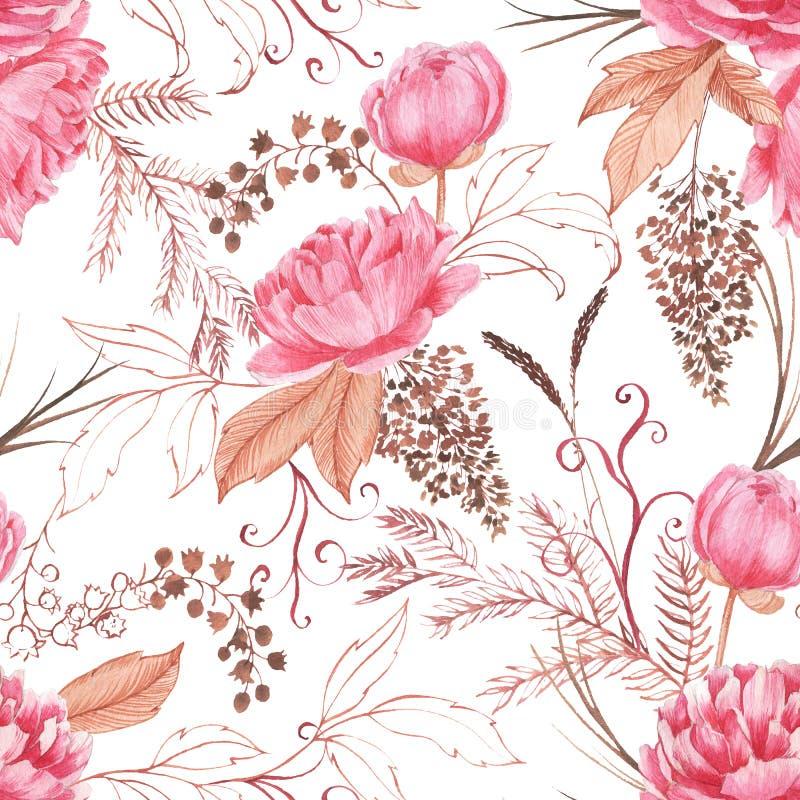Hand getrokken waterverf naadloos patroon met roze pioen en decoratieve installaties royalty-vrije stock afbeeldingen