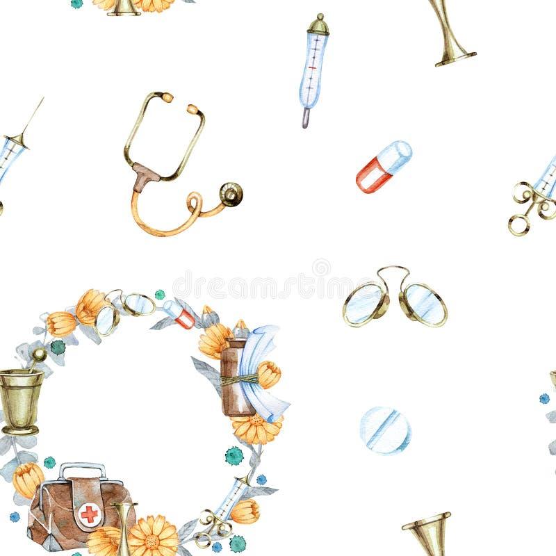 Hand getrokken waterverf naadloos patroon met uitstekende medische instrumenten royalty-vrije stock afbeelding