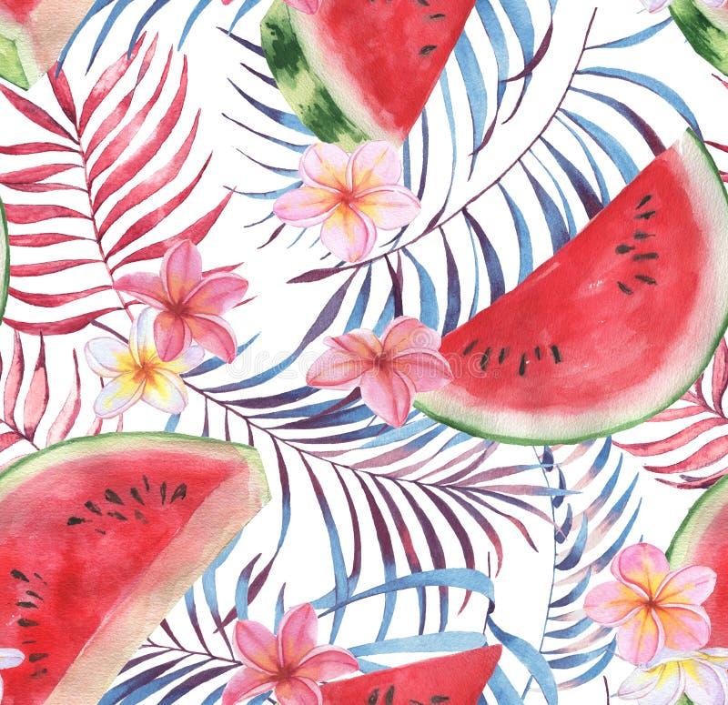 Hand getrokken waterverf naadloos patroon met verse watermeloen en uitheemse gewassen royalty-vrije stock fotografie