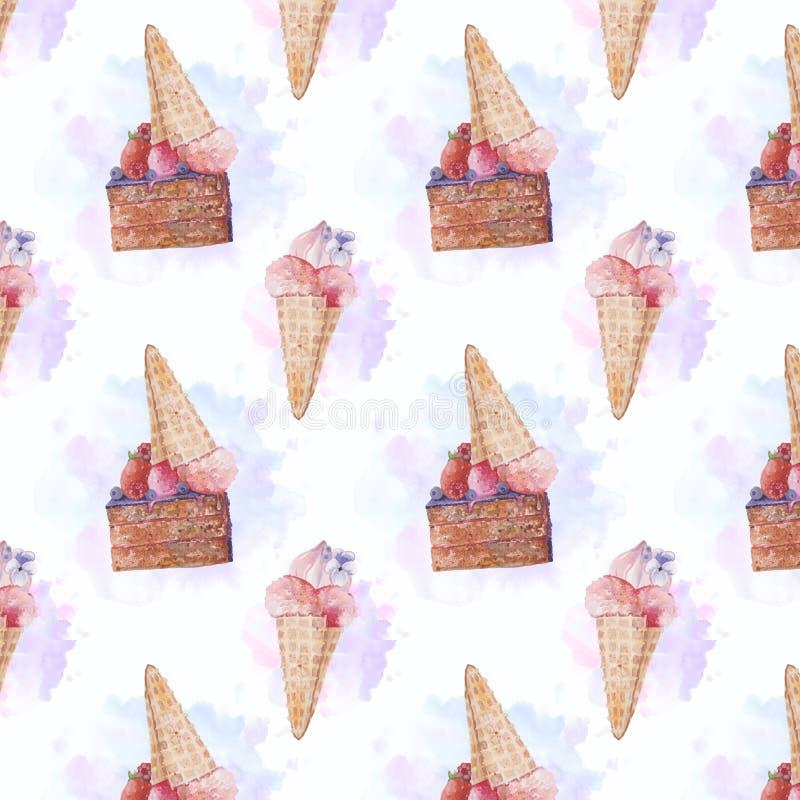 Hand getrokken waterverf naadloos patroon met yummy roomijs en cake stock afbeeldingen