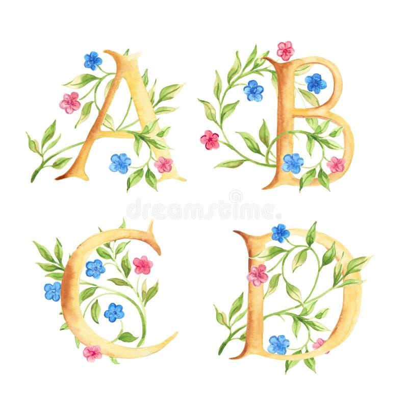 Hand getrokken waterverfalfabet met bloemen monogrammen royalty-vrije stock foto's