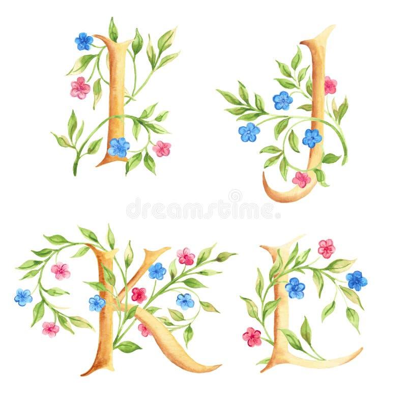 Hand getrokken waterverfalfabet met bloemen monogrammen stock afbeeldingen