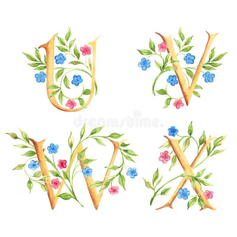 Hand getrokken waterverfalfabet met bloemen monogrammen royalty-vrije stock fotografie