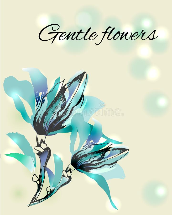 Hand getrokken waterverfbloemen De de lentecontour bloeit om de vakantie op papier te verfraaien, kaarten, groeten Vector illustr royalty-vrije illustratie