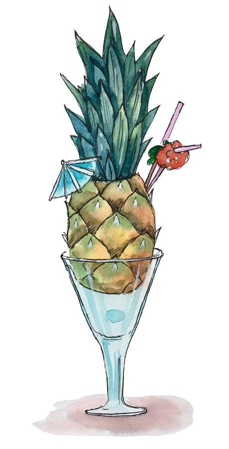 Hand getrokken waterverfillustratie Ananascocktail vector illustratie