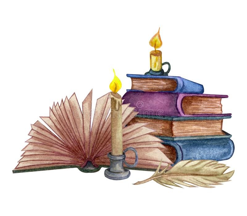 Hand Getrokken waterverfillustratie een stapel van oude boeken met inktfles en veer vector illustratie
