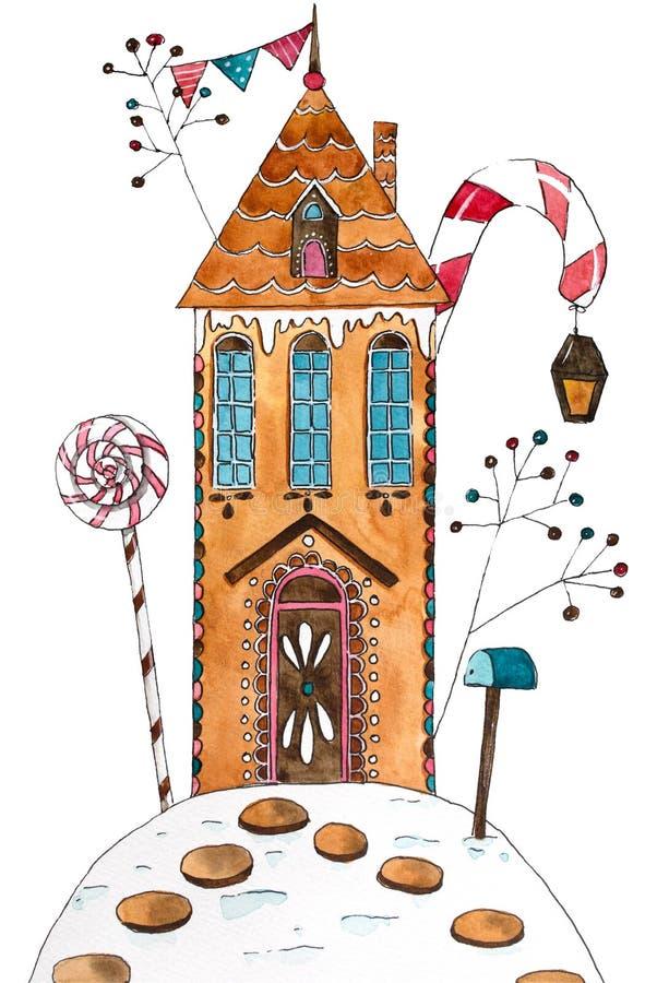 Hand getrokken waterverfillustratie Het huis van de peperkoek stock illustratie