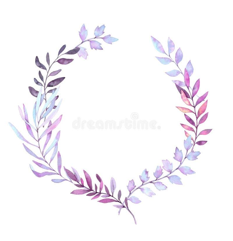 Hand getrokken waterverfillustratie Laurel Wreath met bladeren