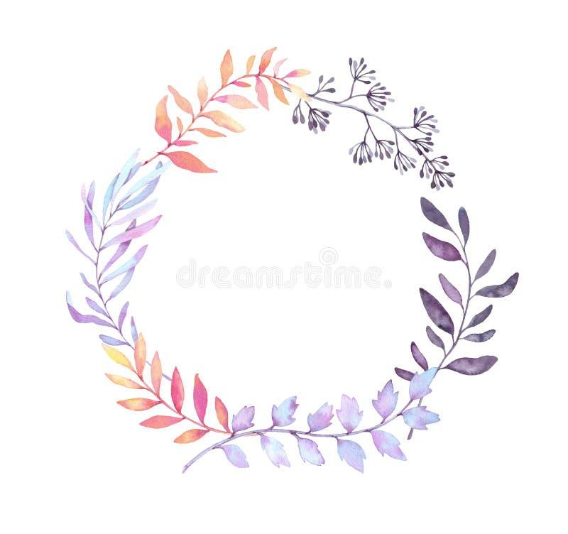 Hand getrokken waterverfillustratie Laurel Wreath met bladeren vector illustratie