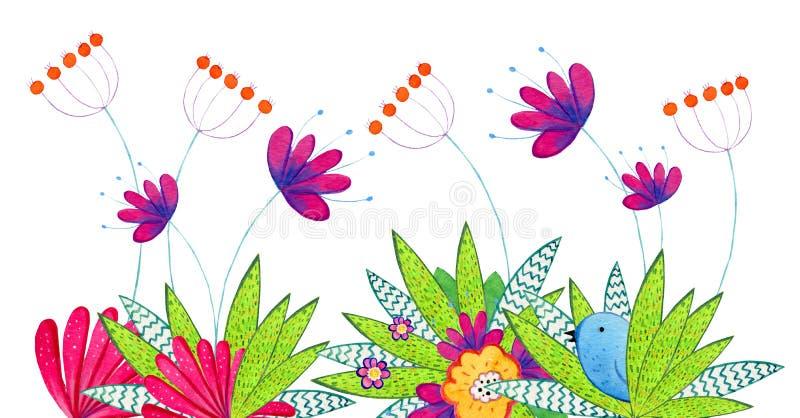 Hand getrokken waterverfillustratie met beeldverhaal decoratieve bloemen, installaties en vogel Illustratie voor kinderendrukken, vector illustratie