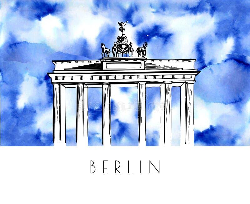 Hand getrokken waterverfillustratie van Berlijn vector illustratie