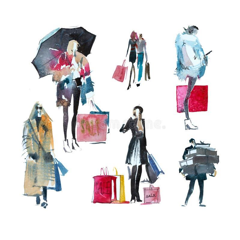 Hand getrokken waterverfmensen met het winkelen zakken Manier, verkoop, de herfst royalty-vrije illustratie