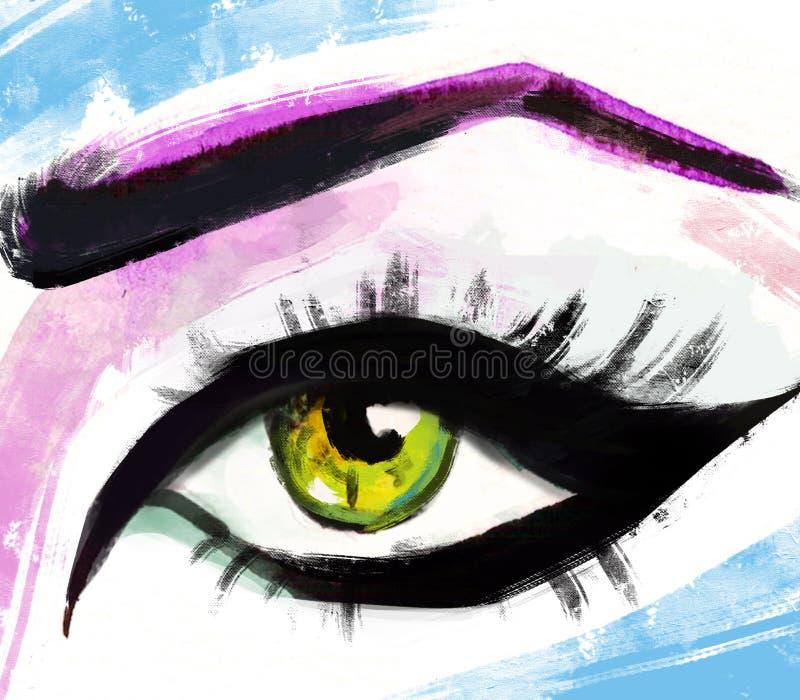 Hand getrokken waterverfogen luxueus oog met volkomen gestalte gegeven wenkbrauwen en volledige zwepen vector illustratie