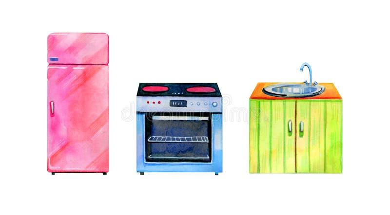 Hand getrokken waterverfreeks van gestileerd keukenmeubilair Oven, refrigirator en lijst stock afbeeldingen